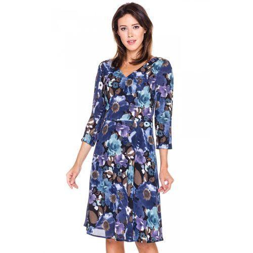 Sukienka w ciemnoniebieskie kwiaty -  marki Bialcon