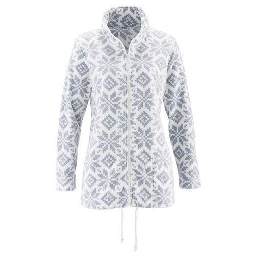 Bluza rozpinana z polaru, długi rękaw biel wełny - srebrnoszary z nadrukiem marki Bonprix