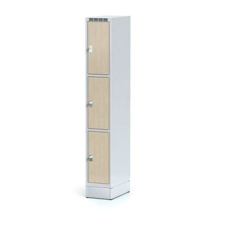 Szafka ubraniowa 3 drzwi 300x300 mm na cokole, drzwi LPW, brzoza, zamek obrotowy