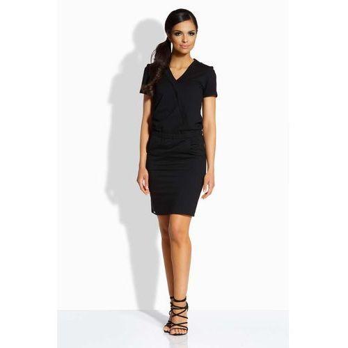 Czarna ołówkowa sukienka z kopertowym dekoltem, Lemoniade, 36-40