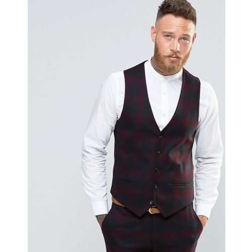 River island  skinny fit tartan check suit waistcoat in dark red - red
