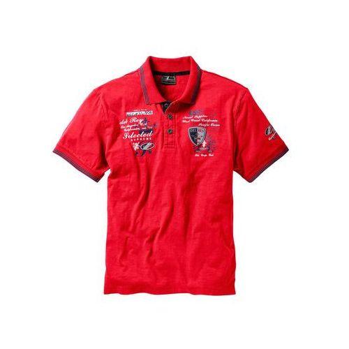 Shirt polo z efektownym zdobieniem bonprix czerwony, kolor czerwony