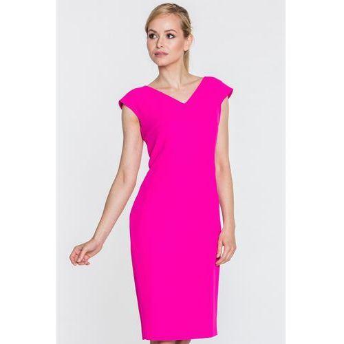 Różowa sukienka z dekoltem w serek - SU, 1 rozmiar