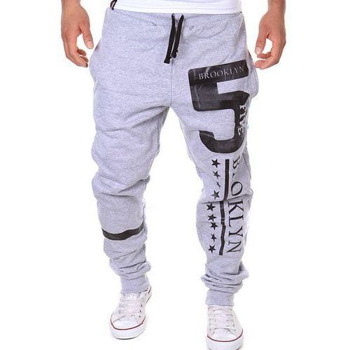 Rosewholesale Hot sale beam feet letters number star print loose fit men's lace-up sweatpants