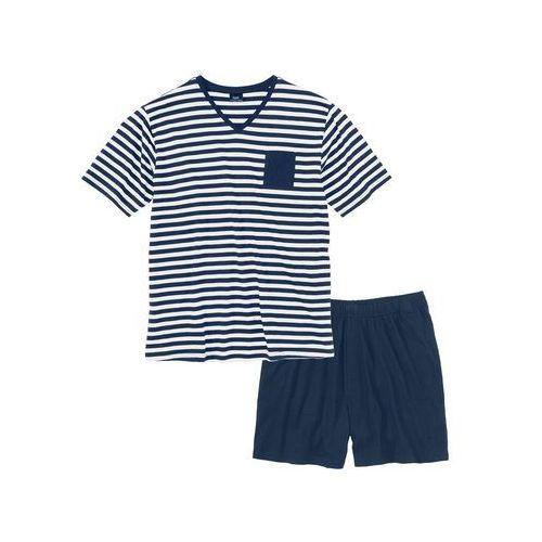 Piżama ciemnoniebiesko-biały w paski marki Bonprix