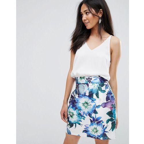 2 in 1 mini printed floral skirt dress - cream, Ax paris