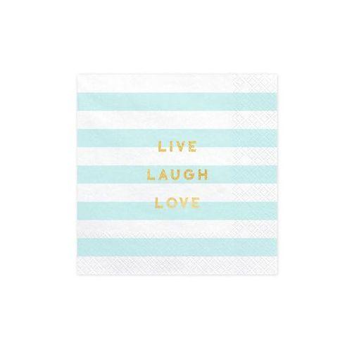 Serwetki Live Laugh Love błękitne paski - 33 cm - 20 szt. (5902230791862)