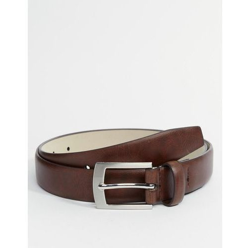 bonded leather square buckle belt in brown - brown od producenta River island