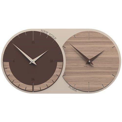 Calleadesign Zegar ścienny - 2 strefy czasowe world clock orzech włoski (12-009-85)