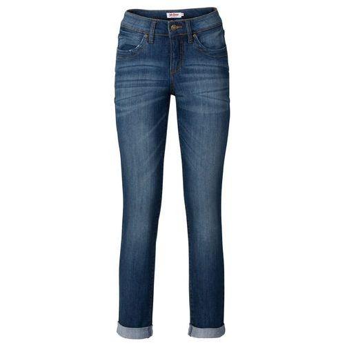 Dżinsy ze stretchem 7/8 STRAIGHT bonprix ciemnoniebieski, kolor niebieski
