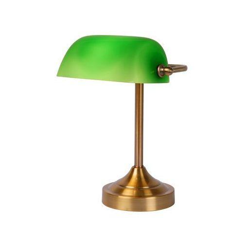Lucide Lampa biurkowa banker small zielono-brązowa metal/szkło