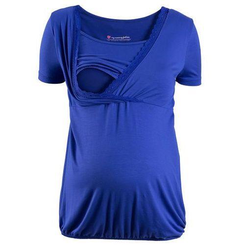 Shirt ciążowy i do kamienia, z koronkową wstawką, krótki rękaw szafirowo-niebieski, Bonprix