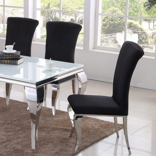 Bellacasa Krzesło glamour stanley ii black - nowoczesne krzesło tapicerowane (5908273395036)