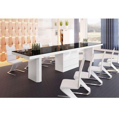 Stół rozkładany Kolos 160 czarno-biały wysoki połysk
