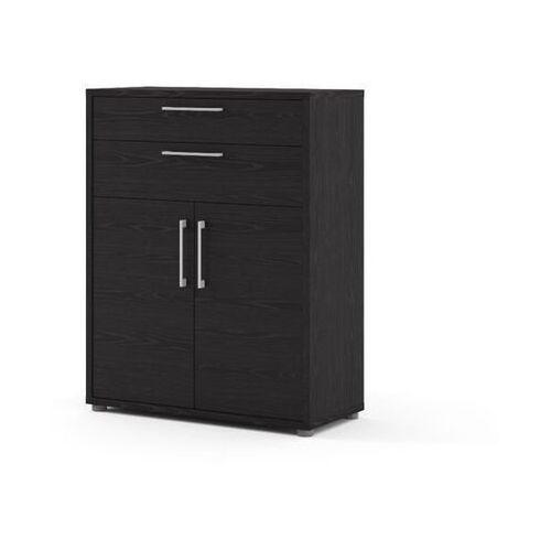 Tvilum Prima regał niski z drzwiami i szufladami czarny