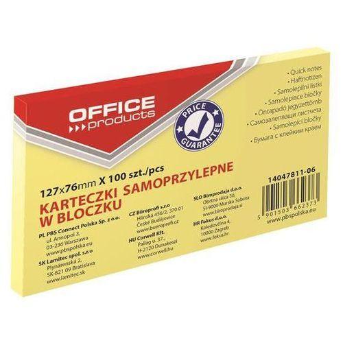 Office products Bloczek samoprzylepny , 127x76mm, 1x100 kart., pastel, jaznożółty (5901503662373)