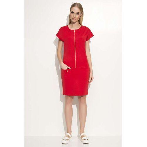 Czerwona Sukienka z Suwakiem z Krótkim Kimonowym Rękawem, kolor czerwony