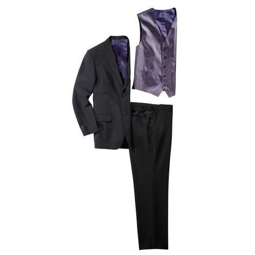 Garnitur (5 części) slim fit czarny marki Bonprix