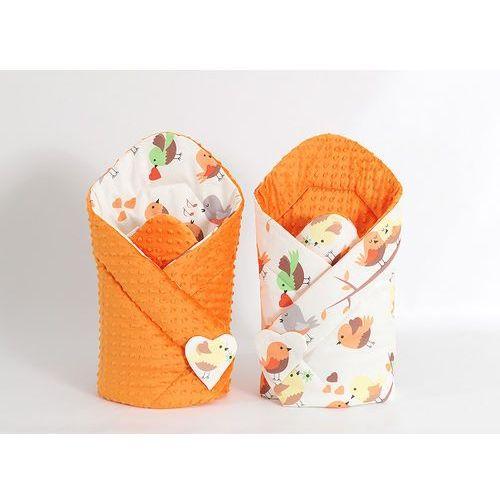 MAMO-TATO Zabawka Dwustronny Rożek minky dla lalek Ptaszki kremowe / pomarańcz