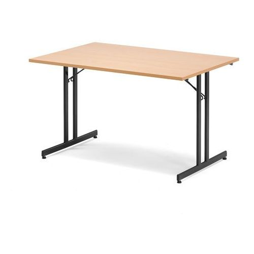 Stół konferencyjny EMILY, składany, 1200x800x720 mm, buk, czarny