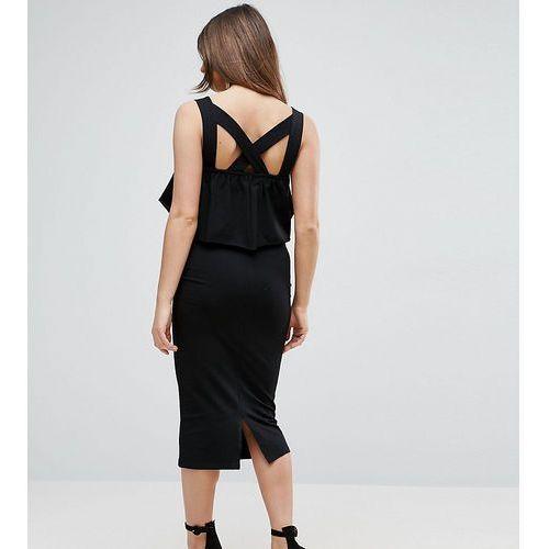 Asos maternity  ruffle top square neck midi dress with cross back - black
