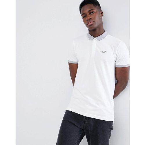 Hollister Contrast Detail Collar Seagull Logo Pique Polo in White - White