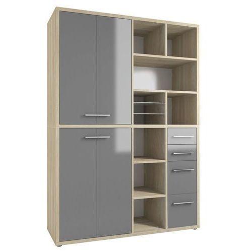 Regał biurowy SET+ 216x155 cm, naturalny-szary, MDF, 16892483