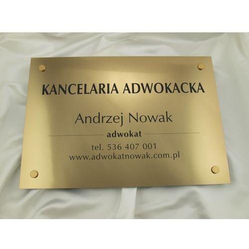 Szyld grawerowany - kancelaria adwokacka - złoty - sz047 - wym. 50x35cm marki Grawernia.pl - grawerowanie i wycinanie laserem
