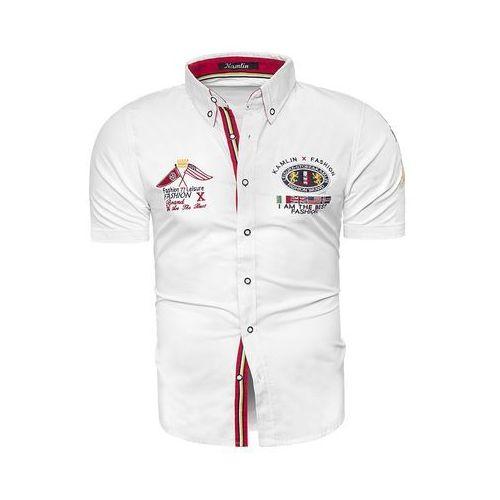 Koszula z krótkim rękawem k1332 - biała, Risardi, M-XXXL