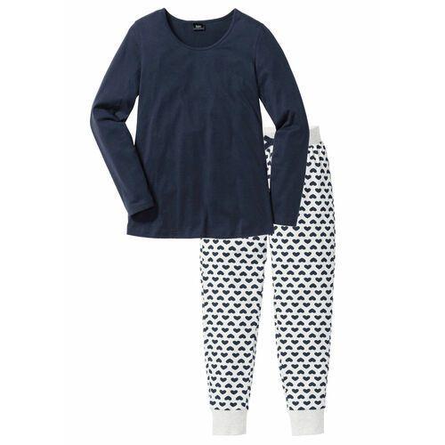 Piżama, bawełna organiczna bonprix ciemnoniebieski - naturalny melanż z nadrukiem, w 9 rozmiarach