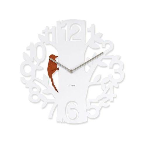 Karlsson:: Zegar ścienny Woodpecker biały - biały z brązowym ptaszkiem, kolor biały