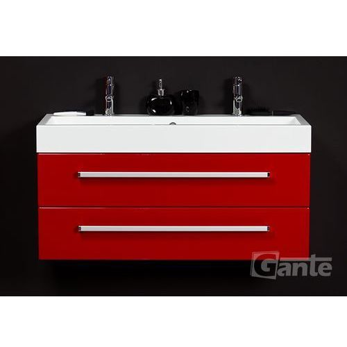 Gante Czerwona szafka wisząca z umywalką 100/42/2 seria fokus cz