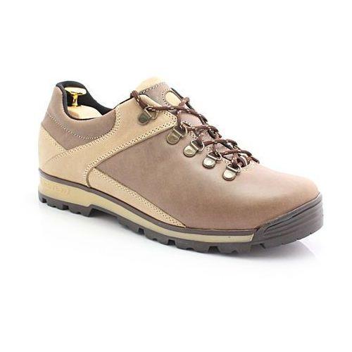 KENT 290 BRĄZOWE - Trekkingowe buty męskie ze skóry - Brązowy   Beżowy