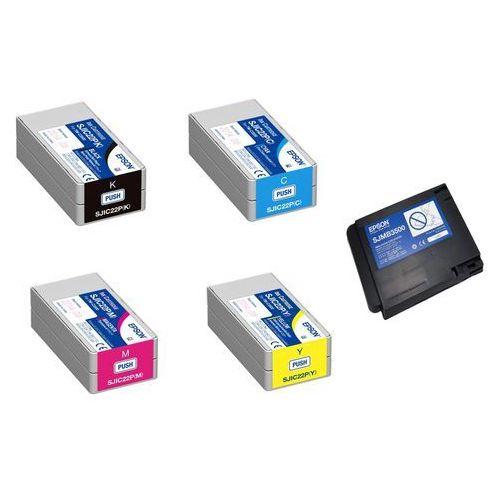 Epson 4 x tusz CMYK SJIC22P + pojemnik SJMB3500, SJIC22P + SJMB3500