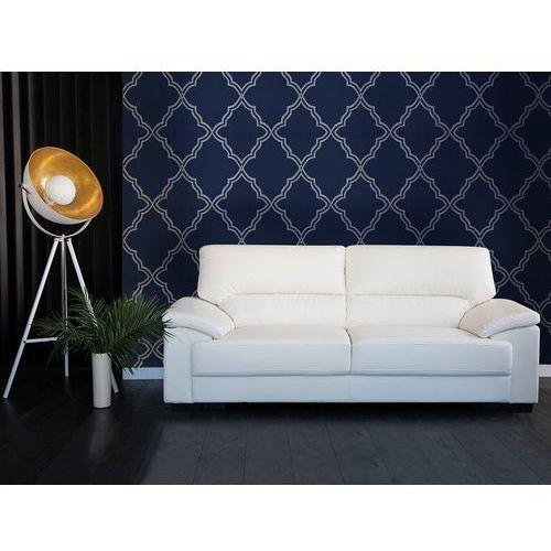 Sofa kremowa - trzyosobowa - kanapa - skóra ekologiczna - VOGAR, kolor beżowy