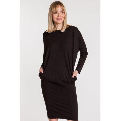 Czarna sukienka z kieszeniami - Ryba, z