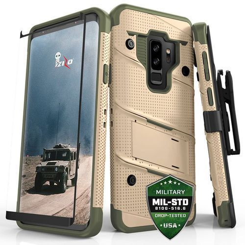Zizo Bolt Cover Etui Pancerne Samsung Galaxy S9+ Plus (Desert Tan/Camo Green) + Szkło Hartowane Na Ekran, kolor zielony