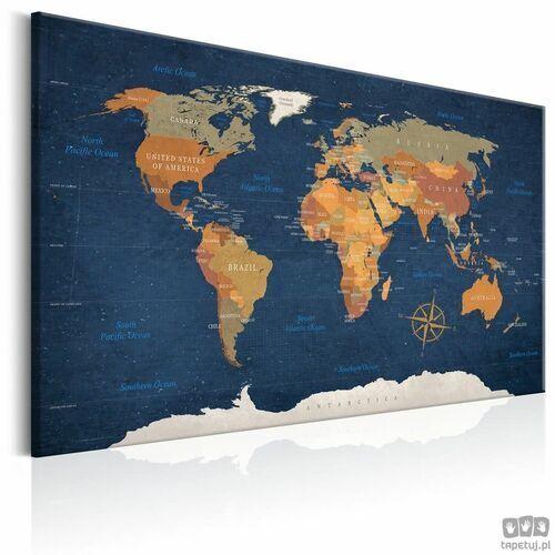 Obraz Mapa świata: Atramentowe oceany, A0-N5872_opcje