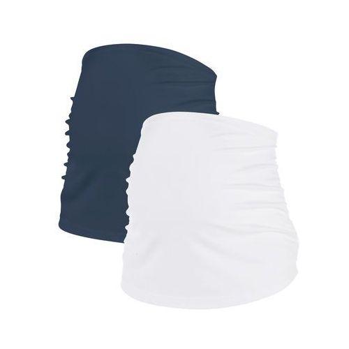 Pas ciążowy na brzuch (2 szt.) bonprix ciemnoniebieski + biały