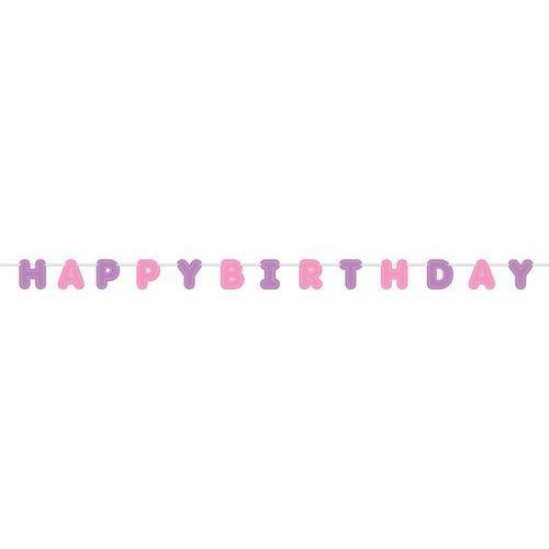 Unique Baner happy birthday różowy - 274 cm - 1 szt.