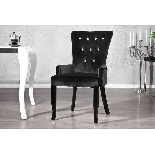 Krzesło Gloria z podłokietnikami - czarne - srebrny, kolor czarny