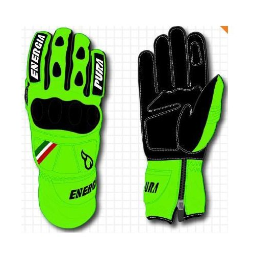 Rękawice narciarskie Giant Slalom Fluo Leather Gloves W/Prot Zielony/Czarny 6.5
