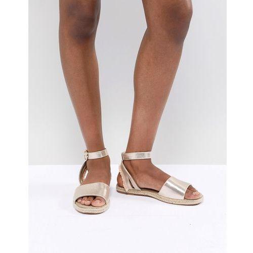 River Island Metallic Espadrille Sandals - Gold