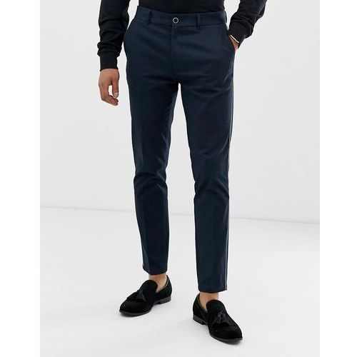Burton Menswear chinos in navy with side piping - Navy, kolor szary