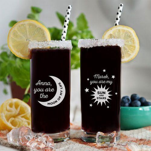 Moon & Sun and Stars - Dwie grawerowane szklanki - Szklanka