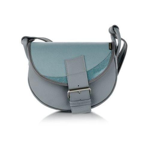f3bb5360099ef Słoń torbalski Freshman mini torebka skórzana szaro-niebieska