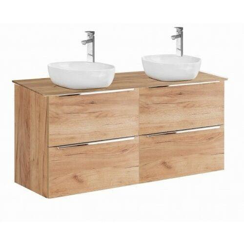 Comad szafka capri oak 2x60 2s dąb craft złoty pod 2 umywalki nablatowe + blat 120 dąb capri oak 2x820 + 892