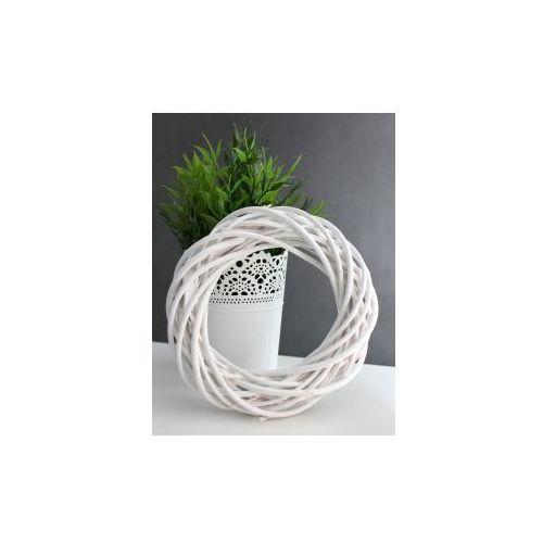 Wiklinowy wianek dekoracyjny 20 cm - biały