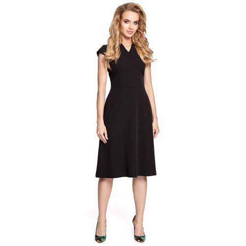 Czarna Sukienka Koktajlowa Midi z Zaznaczoną Talią, w 5 rozmiarach