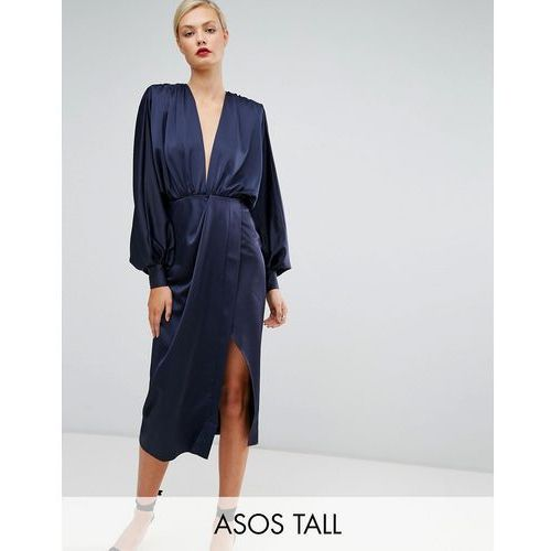 ASOS TALL Shoulder Pad Long Sleeve Selenia Midi Dress - Blue